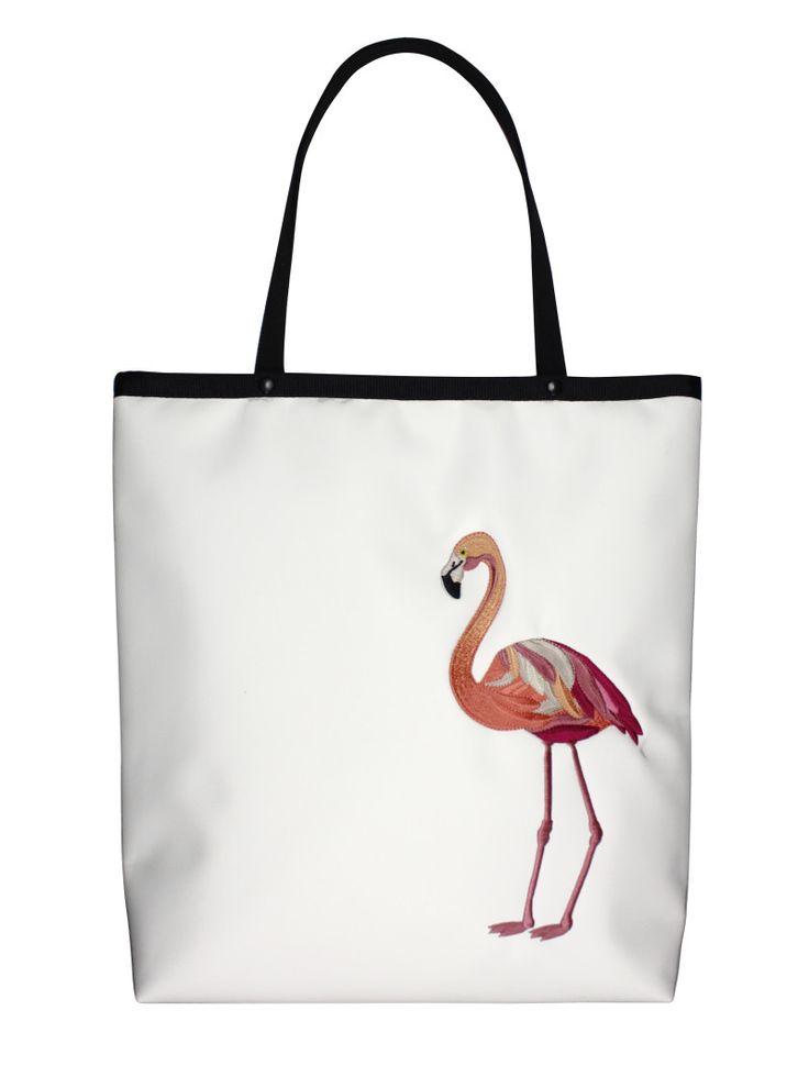 GOSHICO, ss2015, Shopper bag, white + flamingo. To download high or low resolution photos view Mondrianista.com (editorial use only).