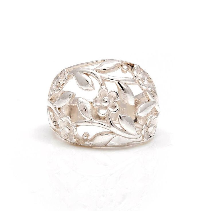 Floral Silver Ring by Rings | Charlotte's Web