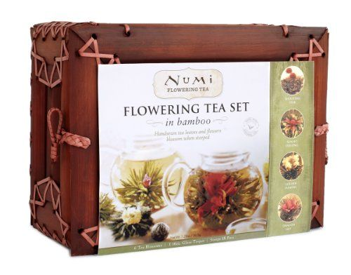 Numi Organic Tea Flowering Gift Set in Handcrafted Mahogany Bamboo Chest: Glass Teapot & 6 Flowering Tea Blossoms Numi,http://www.amazon.com/dp/B000FFIL92/ref=cm_sw_r_pi_dp_09BQsb00R4QD2WY3