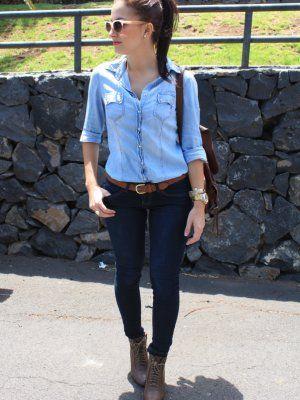 Andtrendydreams Outfit Primavera 2012. Combinar Camisa-Blusa Azul Petru00f3leo Stradivarius Jeans ...