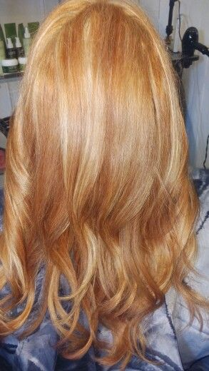 Copper with blonde highlights. Strawberry hair color.