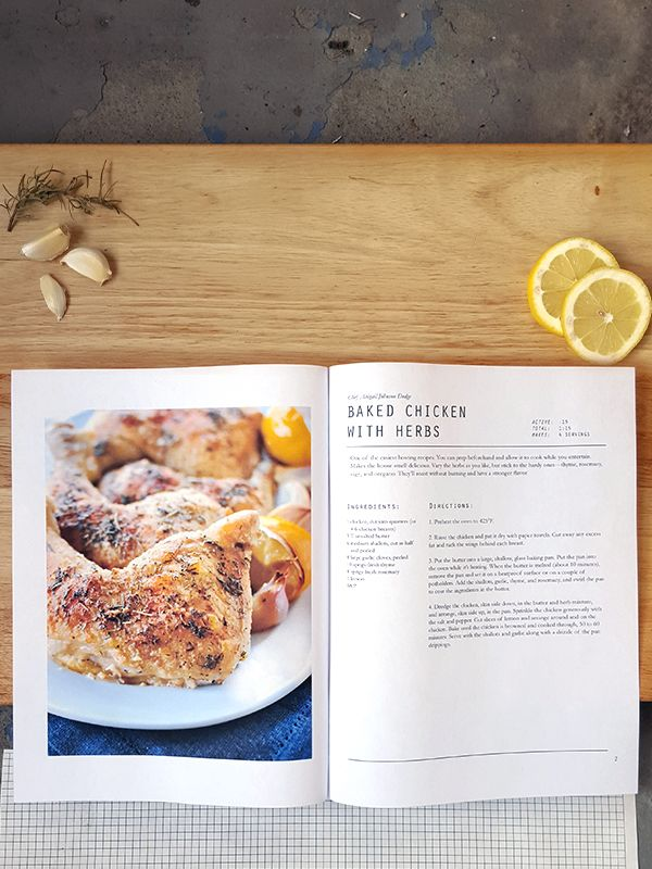 Digital cookbook, InDesign template. Easy to save favorite recipes in one place & printout for later. Instructions, guidelines, and tips included.