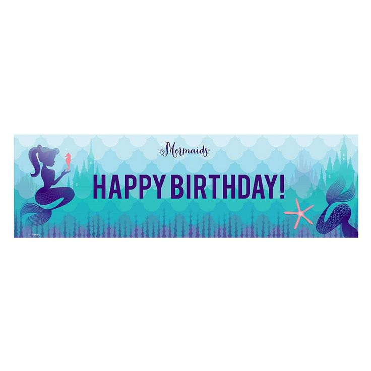 Mermaids Under the Sea Happy Birthday Banner, Multicolor