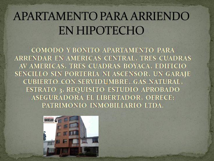 APARTAMENTO PARA ARRENDAR EN HIPOTECHO, AMERICAS CON BOYACÁ.