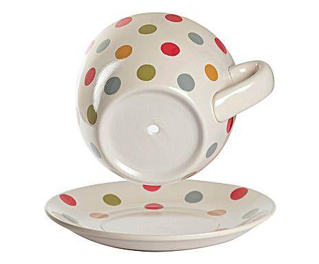 Portavaso a tazza con piattino in ceramica. [20x15x11]