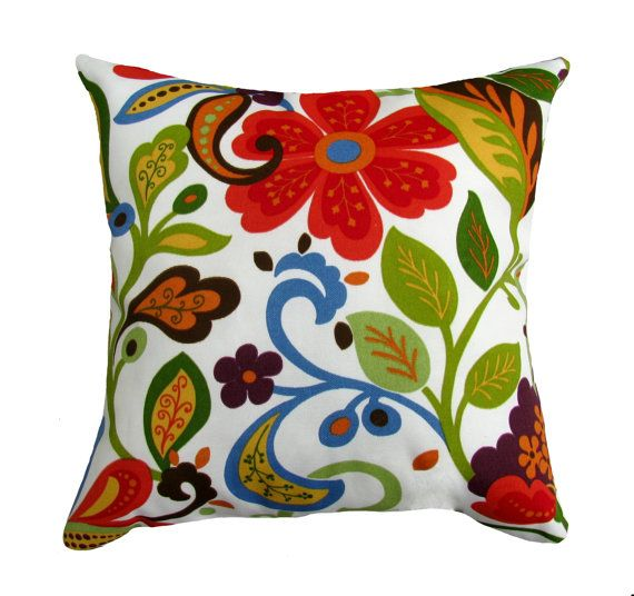 Floral Throw Pillow - Richloom Solarium Wildwood Garden Square or Lumbar Outdoor Decorative Pillow - FREE SHIPPING. $15.99, via Etsy.