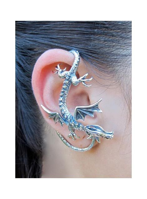 Silver Dragon oreille Wrap - manchette d'oreille Dragon - Sentry Dragon oreille Wrap - Game of Thrones inspirés - boucle d'oreille Non percé...