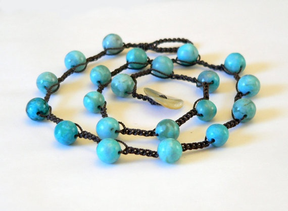 Beaded Crochet Necklace with Jasper Beads turquoise by GlowCreek, $27.00