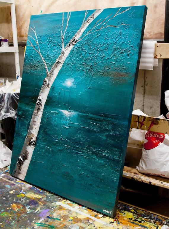 Original Teal Landscape Abstract Painting on Canvas, Birch Tree Painting , Wall Art Landscape Sunset Painting Textured by Osnat 48″