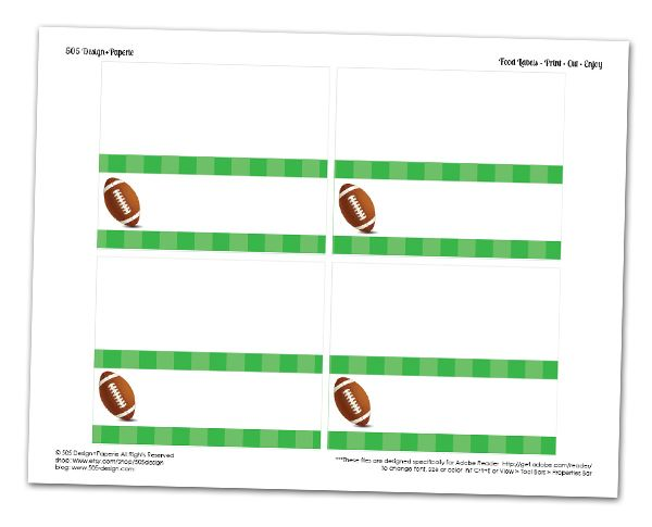 Free Football Food Labels with Editabl Text Areas by 505-design.com