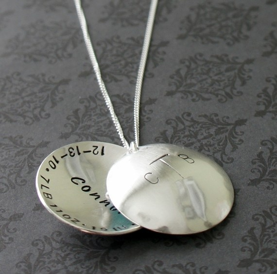 XL Birth Announcement Necklace for Two by EclecticWendyDesigns, $95.00