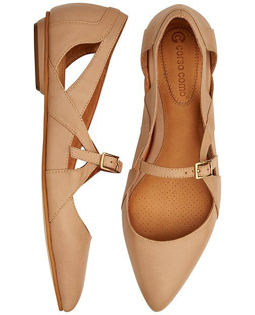 THESE SHOES LOOK PERFECT This fresh take on the ballet flat is crafted for comfort in leather, and finished with pretty pointed toes, buckle strap and breezy cutouts. <br>• Leather upper<br>• Leather lining<br>• Pointed toe<br>• Buckle strap closure<br>• Rubber outsole<br>• Imported<br><br>Runs true to size; medium to