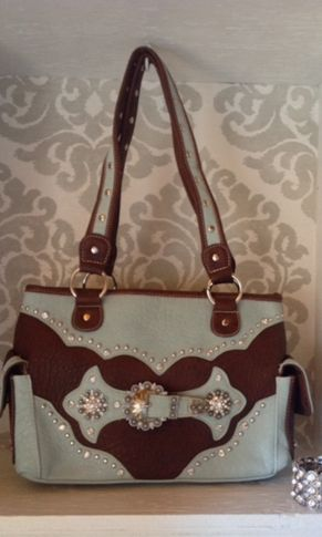 Double Concho Dark Brown And Turquoise Purse