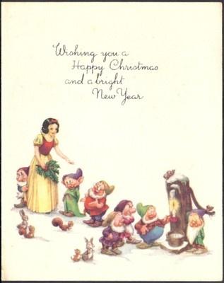 Vintage Rare Walt Disney Snow White & The 7 Dwarfs, Christmas Greetings Card