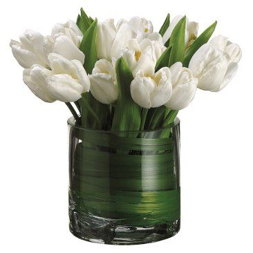 """Check out this item at One Kings Lane! 11"""" Tulips in Vase, White"""