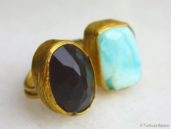 Mahfiruz Ruby & Aquamarine Ring set in 22k Gold by TurkuazBazaar, $70.00