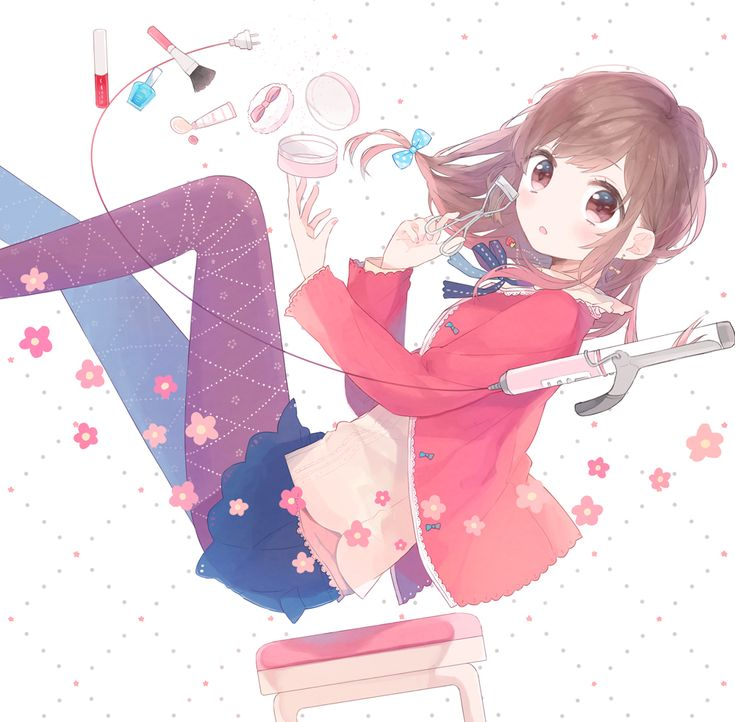 Anime girl with brown hair pink eyes pink sweater white