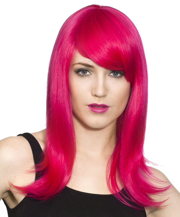 Long hot pink cosplay anime costume wig with swept bangs