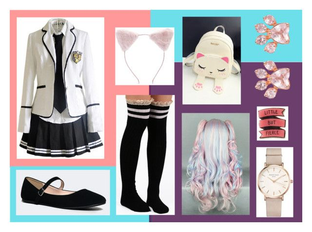 """anime school girl"" by rose-fullbuster ❤ liked on Polyvore featuring City Classified, WithChic, ROSEFIELD and Forever 21"