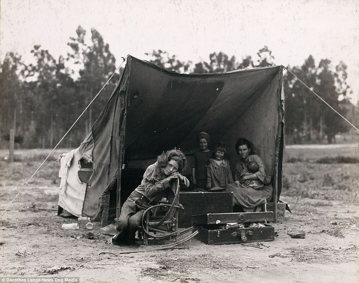 Florence Owens Thompson, also known as 'Migrant Mother' from the iconic Great Depression photograph, sits in a makeshift tent at a pea pickers camp in Nipomo, California, in 1936. At around this time an entire language, known as 'the hobo code', was created to help migrant workers communicate with one another
