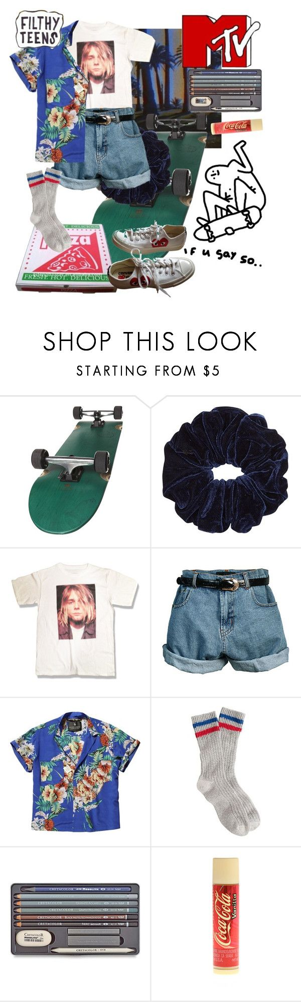"""K U R T 💖"" by cluelesspeach ❤ liked on Polyvore featuring Retrò, Scotch & Soda, J.Crew, claire's and Converse"