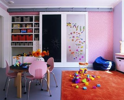 Closet doors-half chalk half magnetic