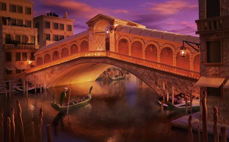 The Rialto Bridge in Venice made out of pasta and other Italian ingredients.