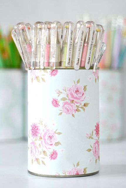 Pretty pen holder--clean tin can {soup or veggie cans!} wrapped with your favorite scrapbook paper. Change it as often as you'd like!