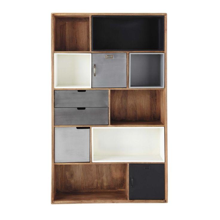 Massief mangohouten industriële boekenkast B 110 cm Lenox | Maisons du Monde