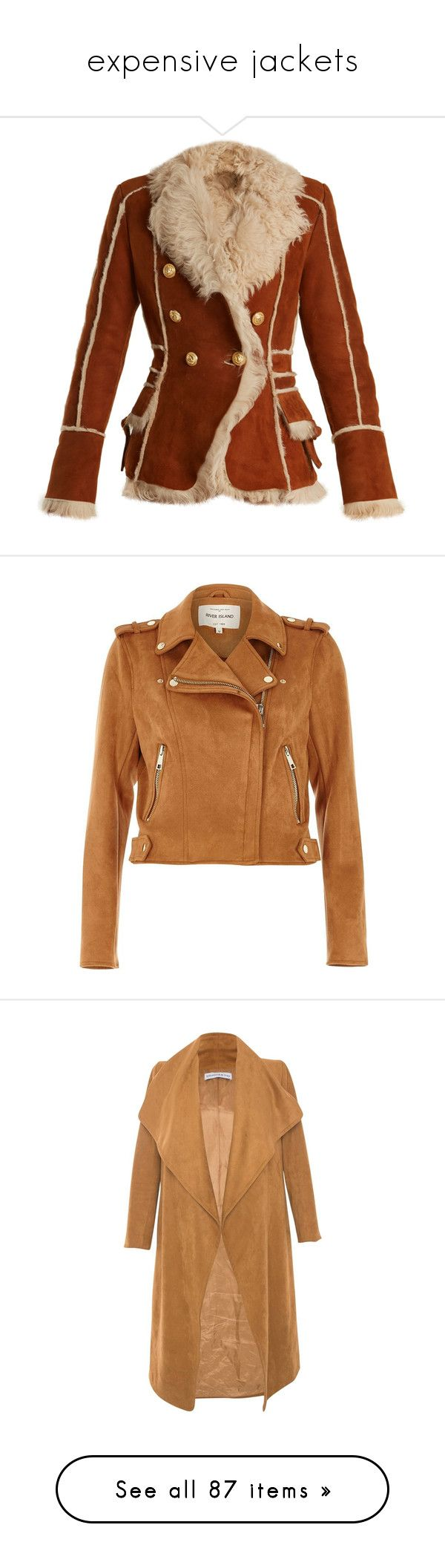 """""""expensive jackets"""" by mrstomlinson974 on Polyvore featuring outerwear, jackets, brown shearling jacket, balmain jacket, balmain blazer, blazer jacket, brown jacket, river island, tops and coats / jackets"""