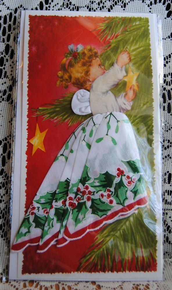 Christmas Angel Hankie Card - Holly