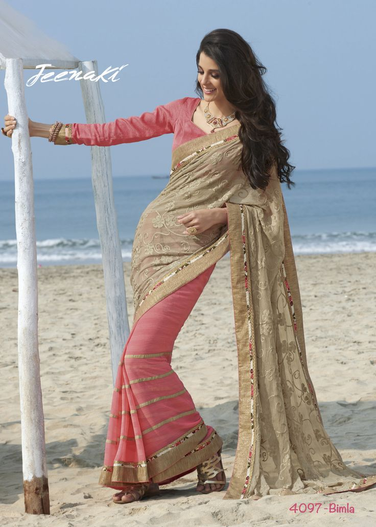 Pink-Beige Chiffon Pattern Party Wear Saree With Jute Blouse at Lalgulal.com ‪‎Price‬ :- 3,591/- inr. To ‪Order‬ :- http://goo.gl/5j0xeI To Order you Call or ‪Whatsapp‬ us on +91-95121-50402 COD & Free Shipping Available only in India.