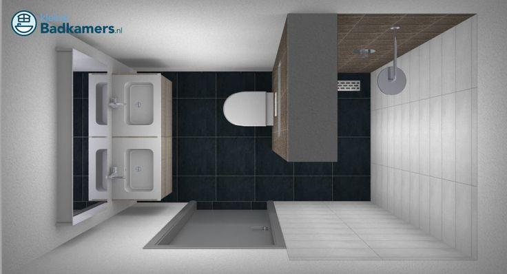 Kleine badkamer met dubbele wastafel