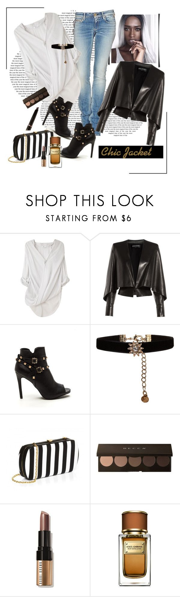 """*Jacket  ""Chic"" contest *- Set #1"" by sassy-elisa ❤ liked on Polyvore featuring Helmut Lang, Balmain, Accessorize, Bobbi Brown Cosmetics, Dolce&Gabbana, Anastasia Beverly Hills, chic, leatherjacket, jacket and shirt"