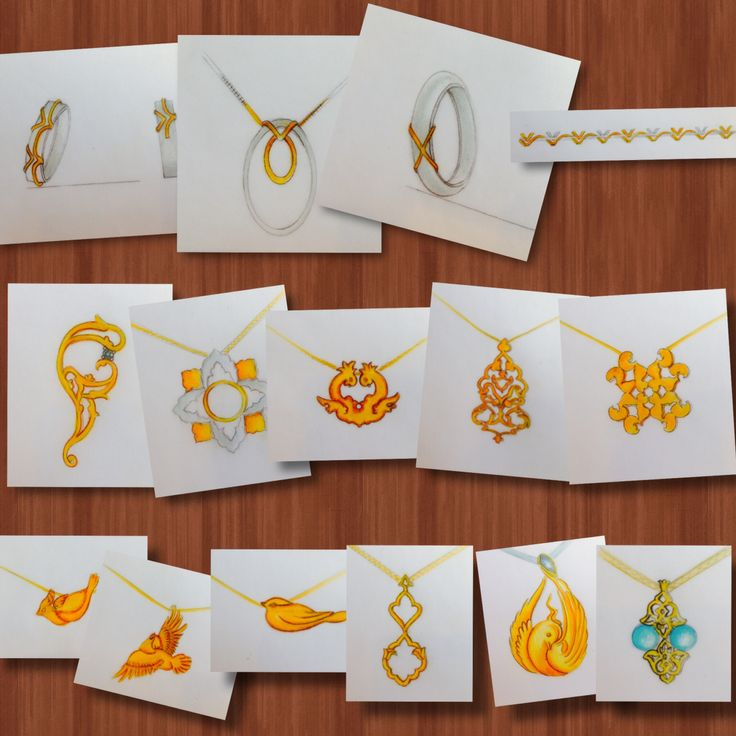 Pendant By Neda Lotfian gold & Jewellery Sketches