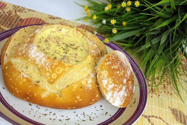 receita fácil para o inverno, creme de mandioquinha com carne seca no pao italiano