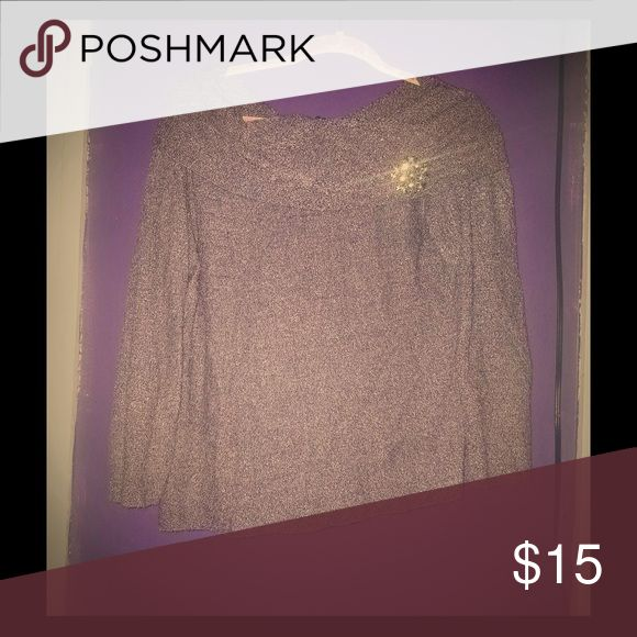 Women's cowl neck sweater Lavender colored cowl neck sweater with pin in excellent used condition. Fashion Bug Sweaters Cowl & Turtlenecks
