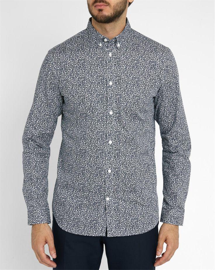 Chemise Slim fit Andre Pr Bleu - SELECTED - Chemises casual SELECTED pour homme, LIVRAISON et Retour 30J GRATUIT - Menlook.com : + de 250 marques à découvrir
