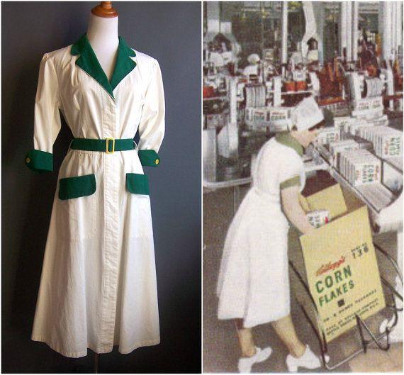1940s XL factory worker dress 40s dress workdress by edgertor