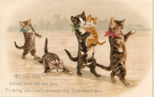 vintage  cat valentine greeting card images | Three Little Kittens Purr Cards