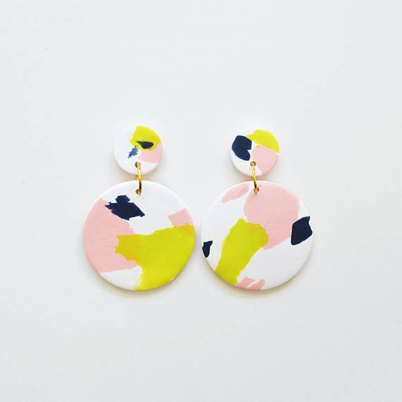 Polymer Clay Drop Earrings - Abstract Pattern in White Blush Green yellow Navy