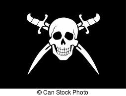 Jolly Roger Pirate Ship Clip Art | Jolly Roger Black - black and white pirate flag Jolly Roger...