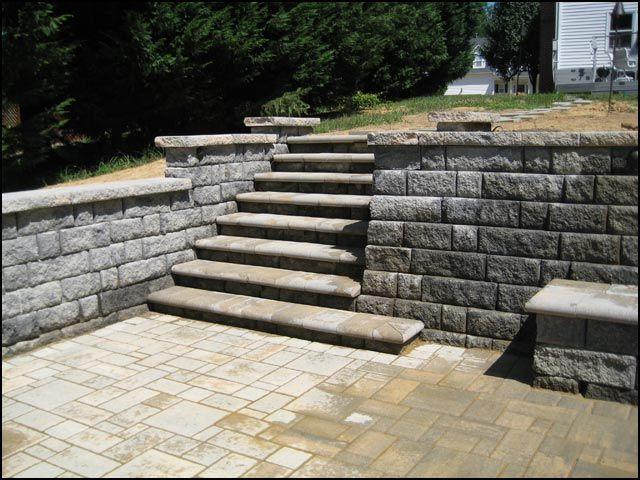 Zero Degree Walk Out Paver Step Idea. Gray Regaining Walls, Paver Patio  Steps