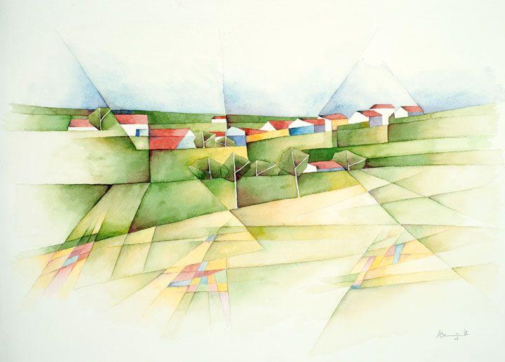 Dorf in Schwaben, 2008, Aquarell, 36 x 51 cm