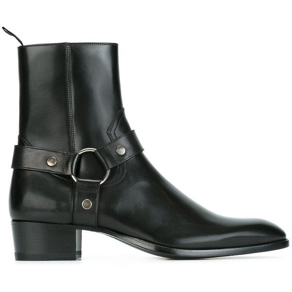 Saint Laurent 'Classic Wyatt' harness ankle boots ($1,145) ❤ liked on Polyvore featuring men's fashion, men's shoes, men's boots, black, yves saint laurent mens boots, mens leather ankle boots, mens black leather boots, mens black boots and mens side zipper boots