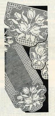 1960s Crochet pattern Chair Set with Tulips in filet crochet