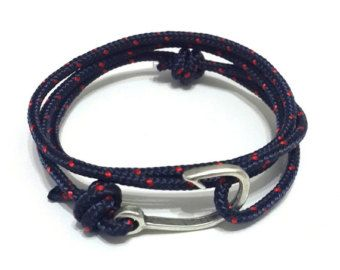 Fish Hook Bracelet in Navy Rope Bracelet Nautical by braceletmixx