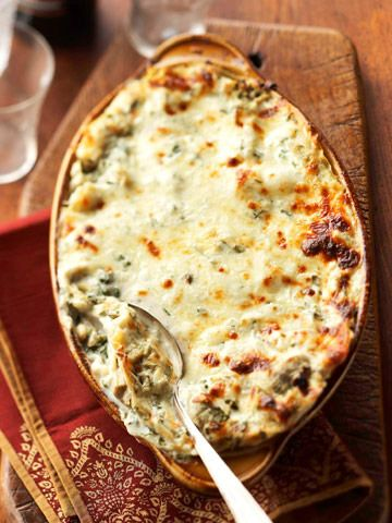Creamy Artichoke Lasagna - an interesting dish when you need a vegetarian entree at your party.