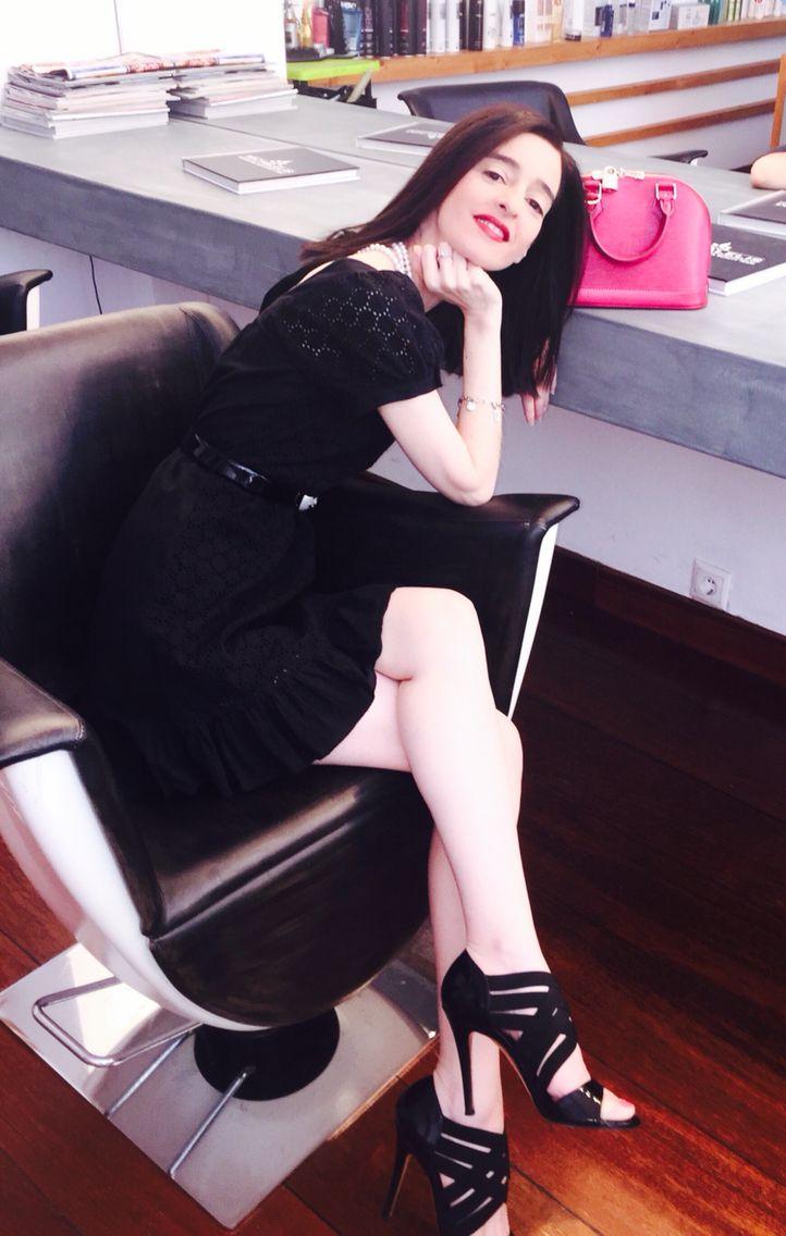 Celia Kritharioti dress, Casadei shoes and Louis Vuitton mini alma bag.