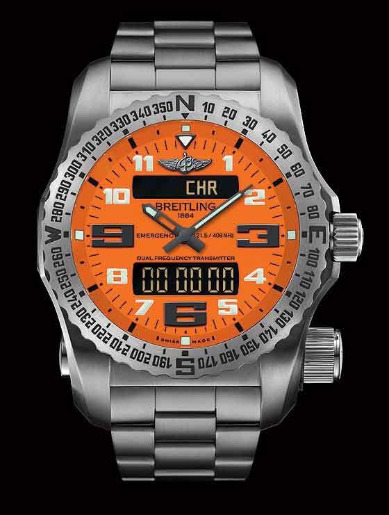 Breitling introduziu seu relógio Breitling de emergência — o primeiro relógio de pulso com um built-in micro transmissor de emergência — em 1995. Desde então, o relógio foi desgastado e usado por profissional de muitos pilotos e tem desempenhado um papel em numerosas missões de busca e salvamento. Na Baselworld 2013, Breitling introduziu outro mundo-primeiro com sua emergência II, o primeiro relógio com um localizador de dupla frequência.